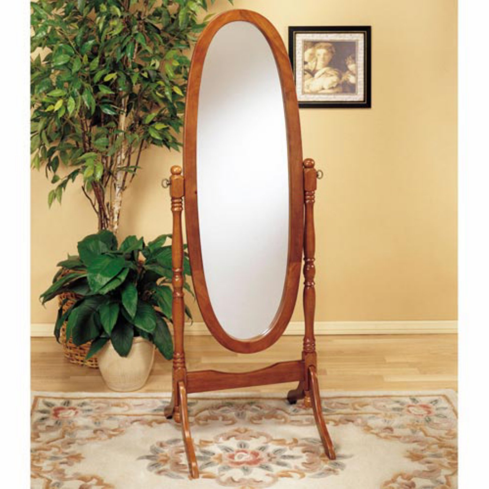 Powell Nostalgic Oak Finish Cheval Floor Mirror - 22.5W x 59.25H in.