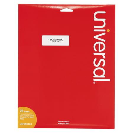Universal Laser Printer Permanent Labels, 1 x 2 5/8, White, 750/Pack -UNV80101 ()