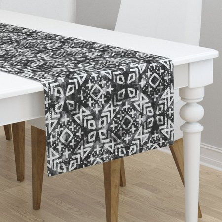 Table Runner Moroccan Black And White Trendy Cute Mud Cloth Cotton Sateen