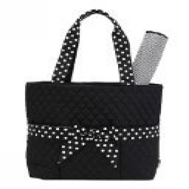 Belvah Quilted Solid 3pc Diaper Tote Bag with Polka Dot F...