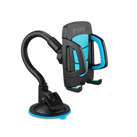 POY Car Holder Universal Windshield Cell Phone Holder Cradle Flexible 360 Rotating Car Mount for almost Smartphone - iPhone 7 7Plus Galaxy S7 S7Edge LG HTC up to 7 inches Device (Blue)