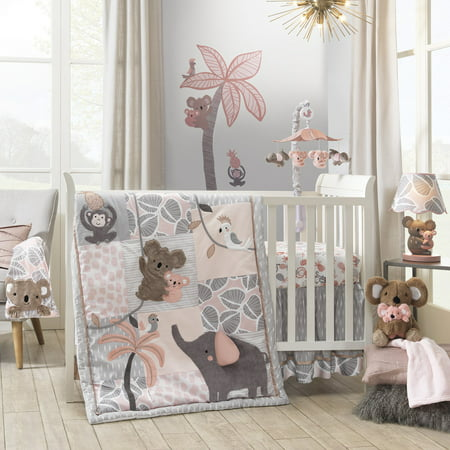 Lambs & Ivy Calypso 4-Piece Crib Bedding Set - Pink, Gray, Gold, Animals, Jungle