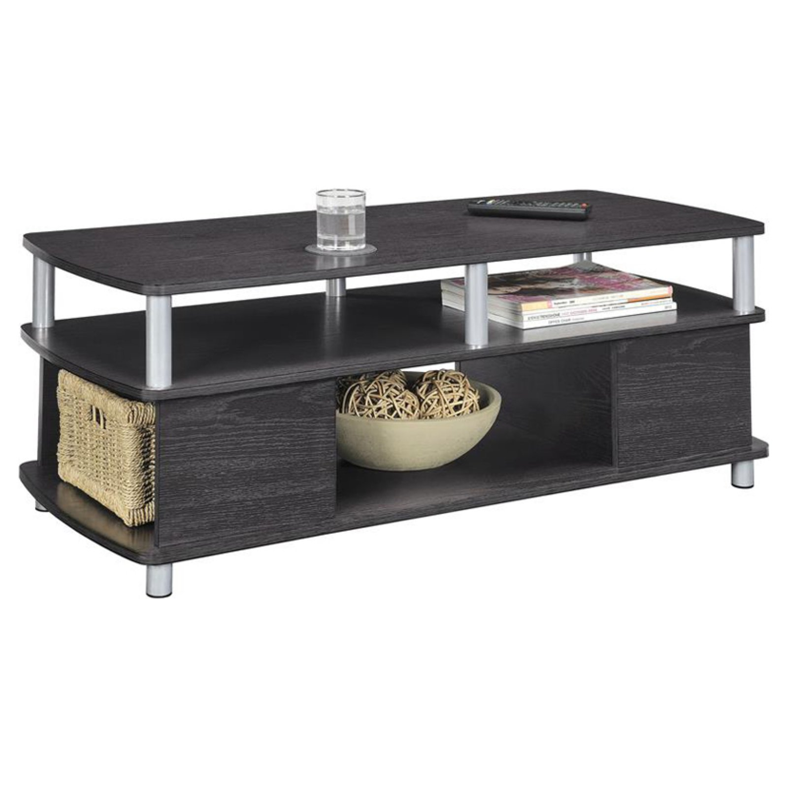Ameriwood Home Carson Coffee Table, Espresso/Silver