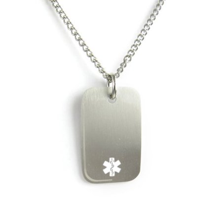 MyIDDr- Engraved Warfarin Medical ID Dog Tag Necklace Stainless steel White for $<!---->