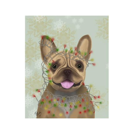 French Bulldog, Christmas Lights 1 Print Wall Art By Fab Funky