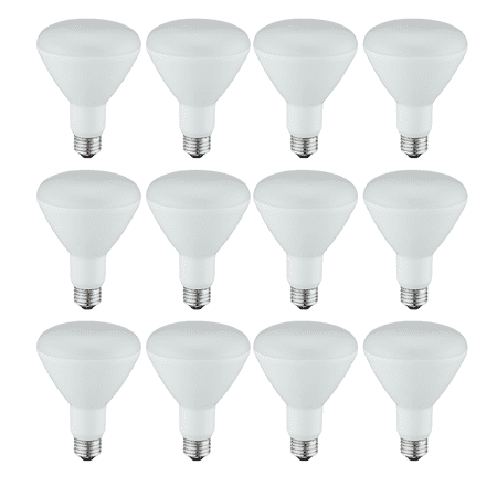 Great Value LED Light Bulb, 9W (65W Equivalent) BR30 Reflector Lamp E26 Medium Base, Soft White, 12-Pack