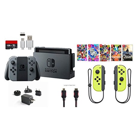 Nintendo Switch Bundle  11 Items   32Gb Console Gray Joy Con  128Gb Micro Sd Card  Nintendo Joy Con  L R  Wireless Controllers Yellow  5 Game Discs  Type C Cable  Hdmi Cable  Wall Charger