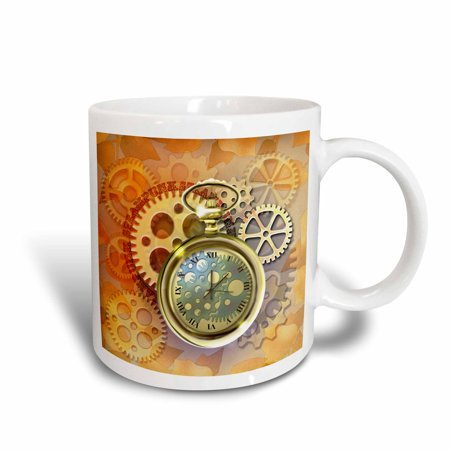 3dRose A Steampunk theme with metal cogs, gears and a lovely golden pocket watch., Ceramic Mug,