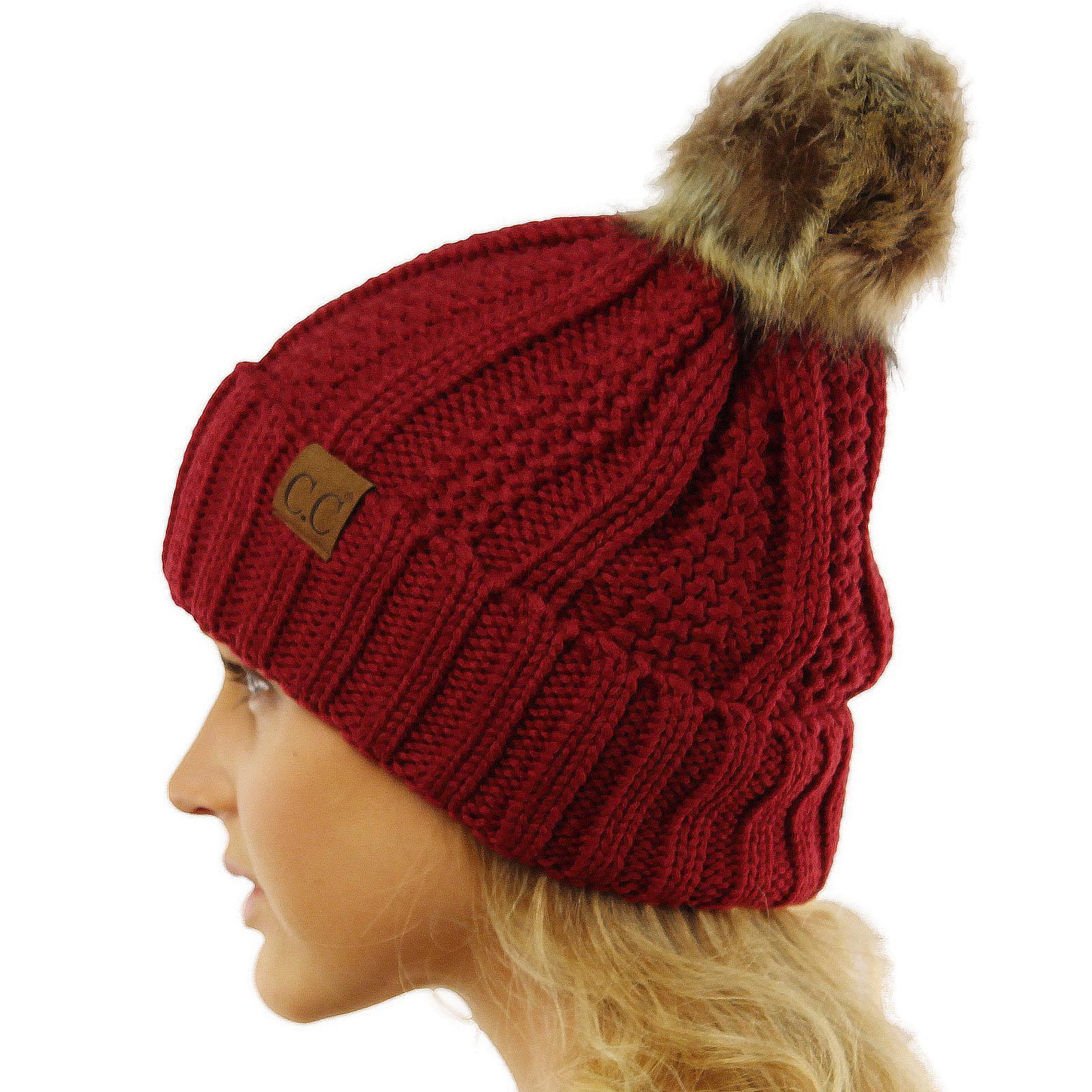 edaf8600577 CC Winter Sherpa Fleeced Lined Chunky Knit Stretch Pom Pom Beanie Hat Cap
