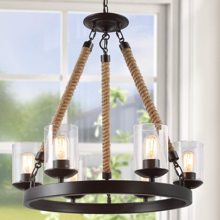 Lnc Retro Rustic Chandelier 6 Lights Pendant Lighting For
