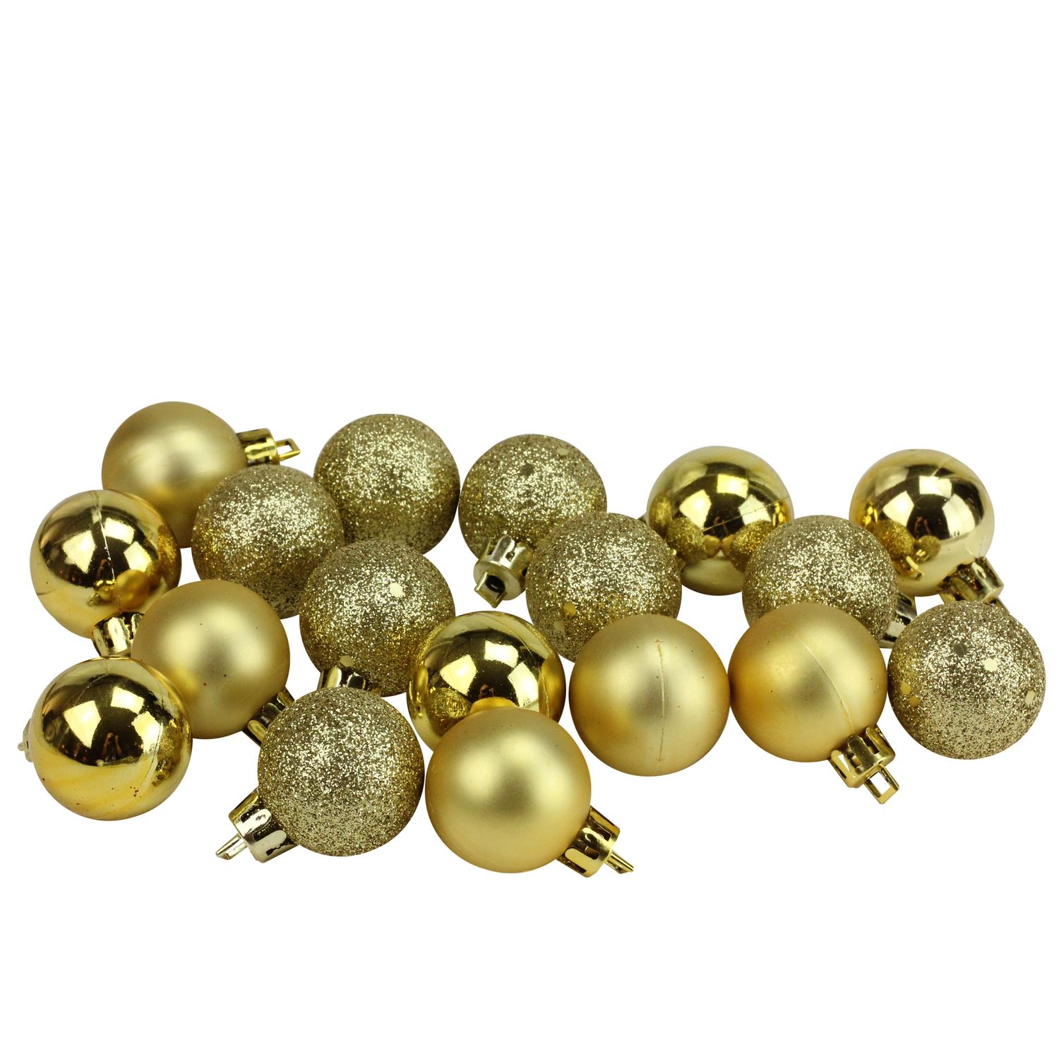 "18ct Vegas Gold Shatterproof 4-Finish Christmas Ball Ornaments 1.25"" (30mm)"