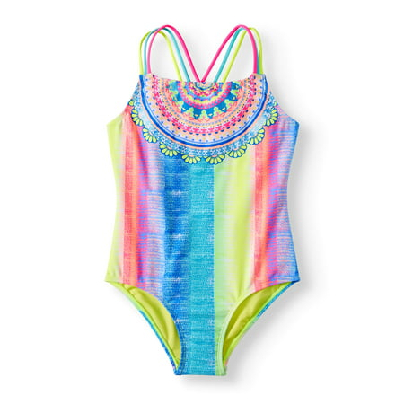 - Rainbow Placement Print One-Piece Swimsuit (Little Girls & Big Girls)