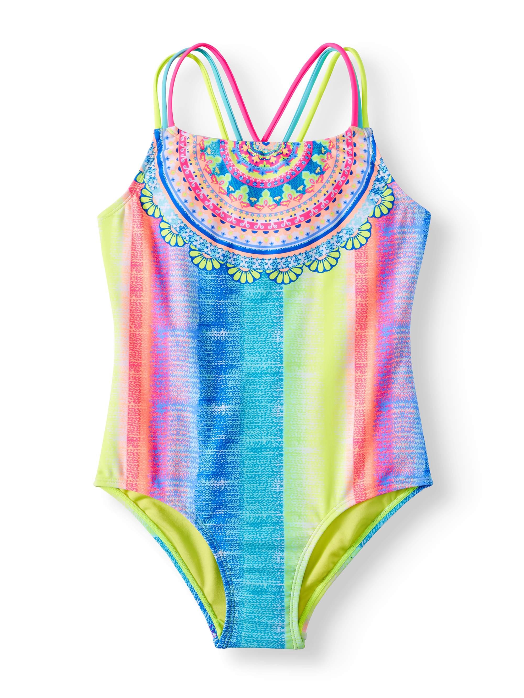 Rainbow Placement Print One-Piece Swimsuit (Little Girls & Big Girls)