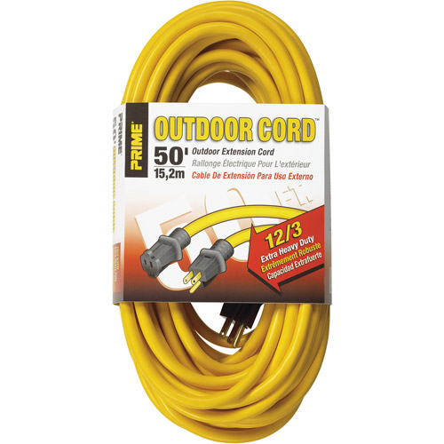 Prime Wire 50-Foot 12/3 SJTW Jobsite Outdoor Extension Cord, Yellow