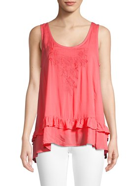 Asymmetric Ruffle Trimmed Tank Top