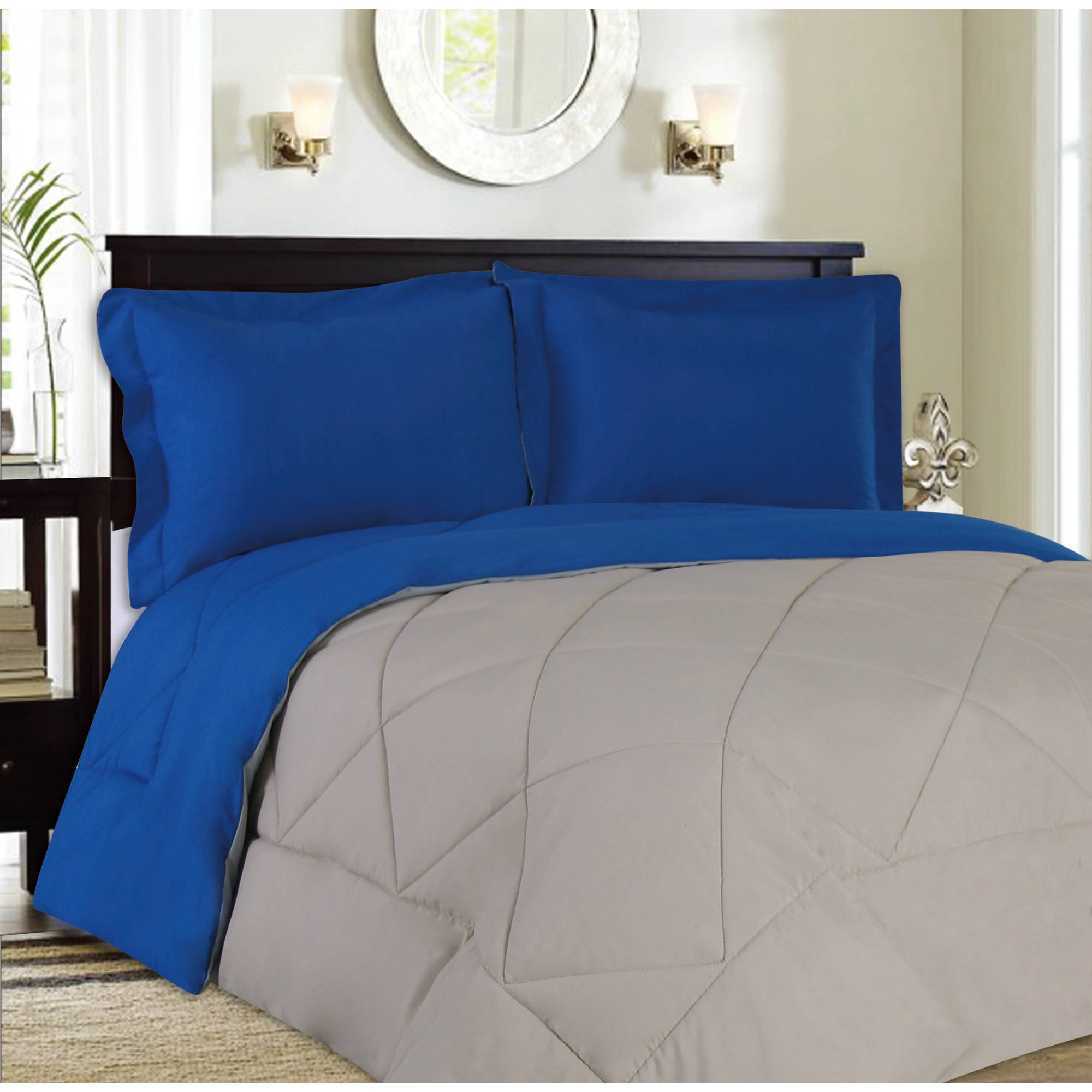 Reversible Goose Down Alternative 3-Piece Comforter and Sham Set