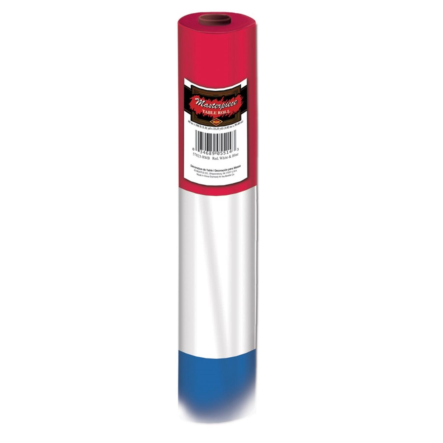 100' Red, White and Blue Patriotic Disposable Plastic Banquet Party Table Roll