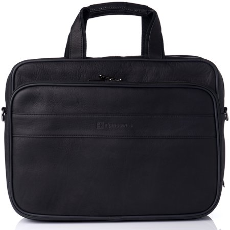 "Alpine Swiss Messenger Bag Leather 15.6"" Laptop Briefcase Portfolio Business Case"