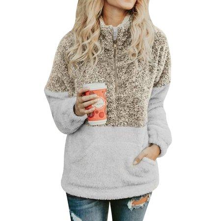 (711ONLINESTORE Women Zip High Neck Color Block Fleece Sweatshirt Tops With Pocket)