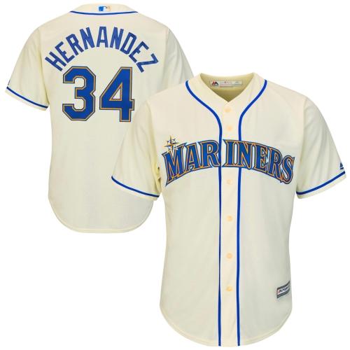 Felix Hernandez Seattle Mariners Majestic Cool Base Player Jersey - Cream