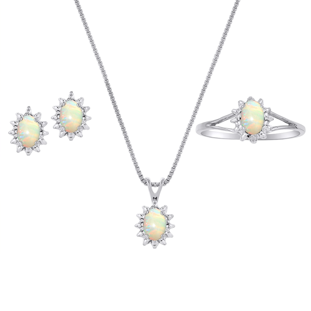 Genuine Natural Opal & Diamond Pendant, Earrings & Ring Set in Sterling Silver .925 with Chain and Gift Box by