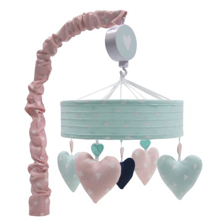 Lambs Ivy Felicity Pink Blue Hearts Musical Baby Crib Mobile