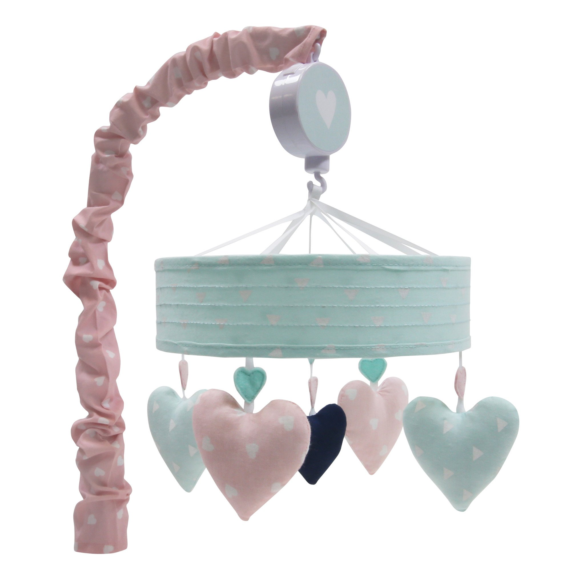 Lambs & Ivy Felicity Pink/Blue Hearts Musical Baby Crib Mobile