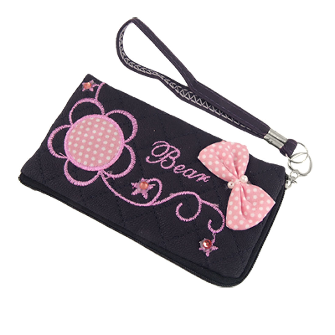 Unique Bargains Manmade Leather Pink Embroidery Zipper Pouch Bag for Phone - image 1 de 1