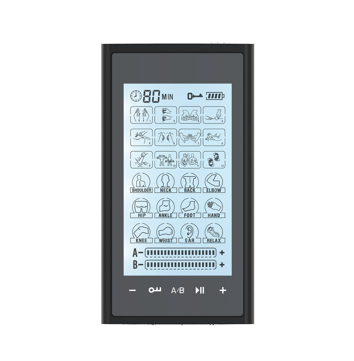 HealthmateForever T24AB2 Touch Screen TENS Unit & Muscle Stimulator (Black On Black)