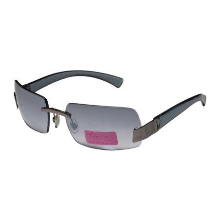 New Thalia 03 Womens/Ladies Square Rimless Mirrored Gunmetal / Gray Gorgeous Trendy Modern Fashion Accessory Shades Sunnies Frame Mirrored / Gradient Gray Lenses Sunglasses/Sun