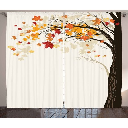 Autumn curtains 2 panels set colorful foliage and tree - Off white curtains for living room ...