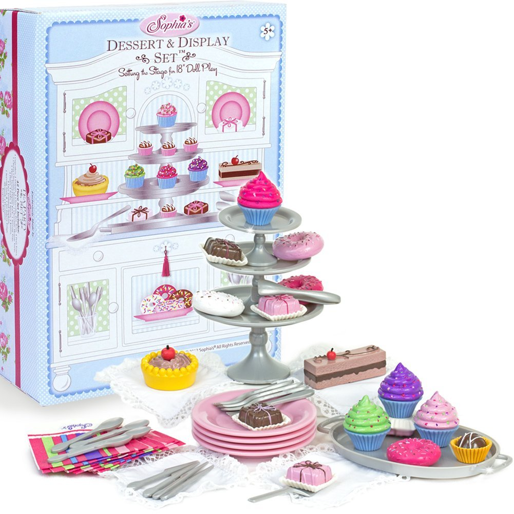 Sophia S 18 Doll Dessert Set With Desserts Serving Plates Utensils And Trays 39 Piece Dessert Display 39 Piece Pretend Play Set For 18 By Sophias Walmart Com Walmart Com