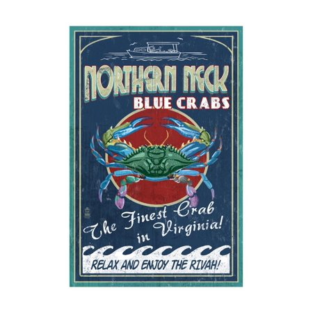 Northern Neck, Virginia - Blue Crab Vintage Sign Print Wall Art By Lantern