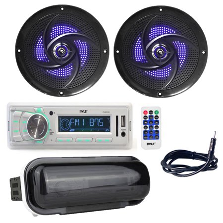Pyle PLMR88W Marine Stereo Radio Headunit Receiver with (2) 6.5 Inch 240W Low-Profile Slim Style Waterproof Rated Marine Speakers with Built-in LED Lights, Antenna, Radio Shield