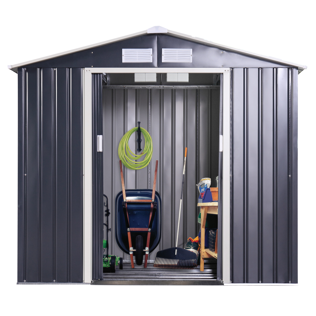 9 x 10 Ft Metal Garden Utility Storage Shed Outdoor Backyard Heavy Duty Tool House Dark Gray