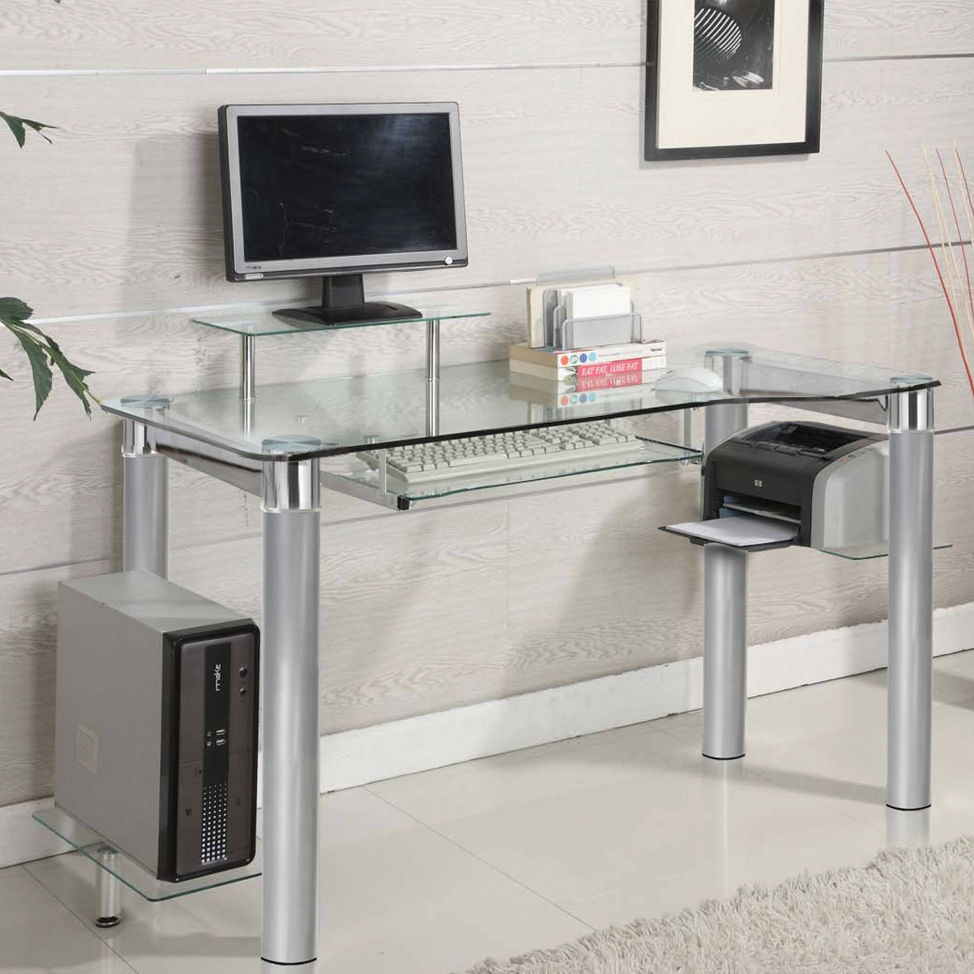 Good Innovex Clear Tempered Glass Modern Style Saturn Desk   Walmart.com