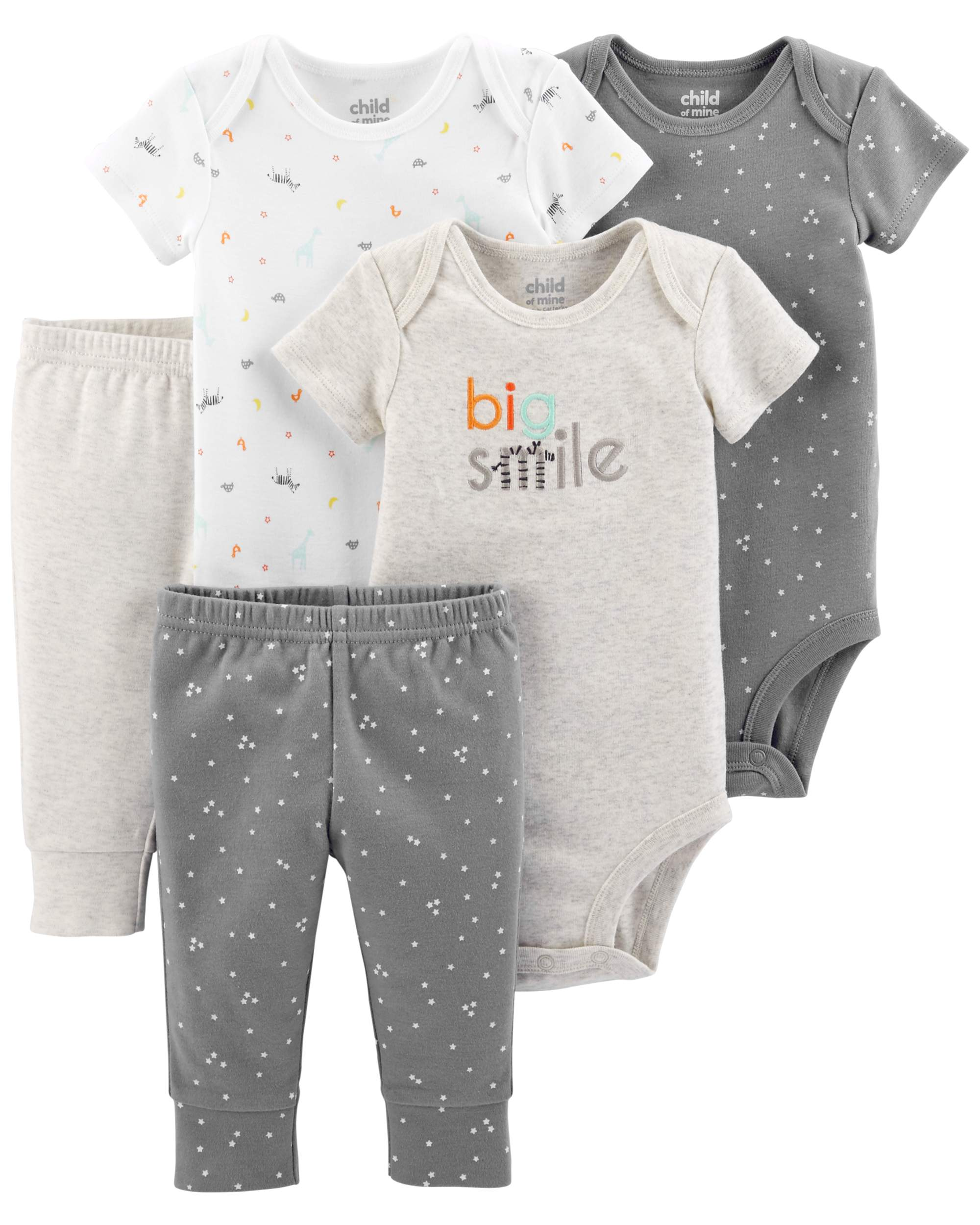 Short Sleeve Bodysuits & Pants, 5pc Set (Baby Boys or Baby Girls Unisex)