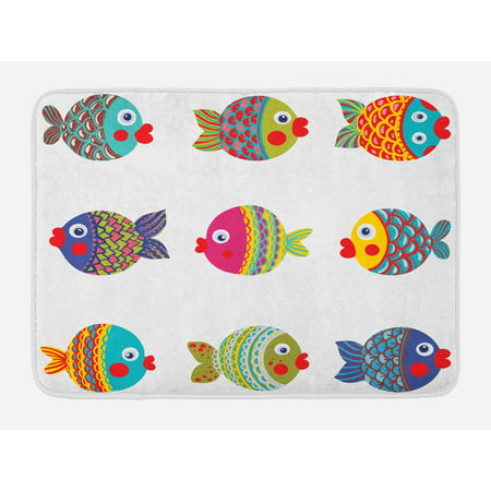 Kids Bath Mat Boho Ethnic Featured Ornate Fishes Gills Under The