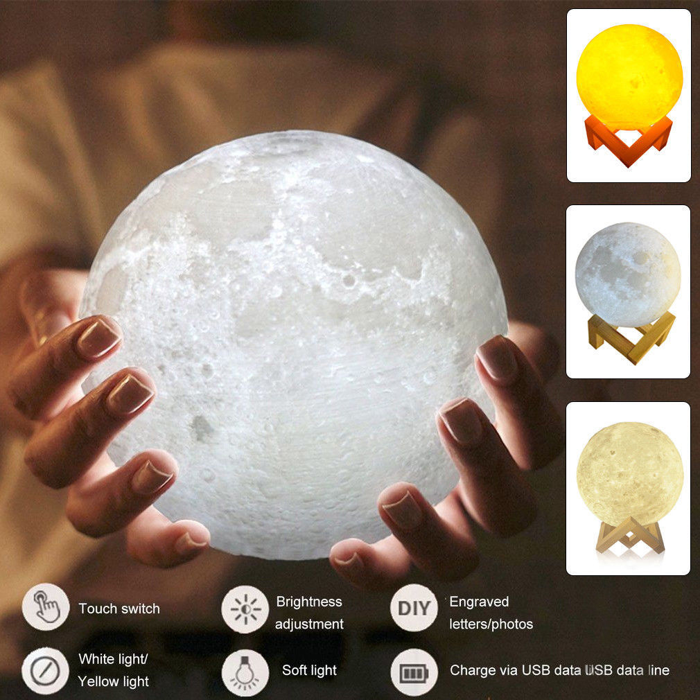 2017 3D Moon Lamp USB LED Night Moonlight Gift Touch Sensor Color Changing (13cm)
