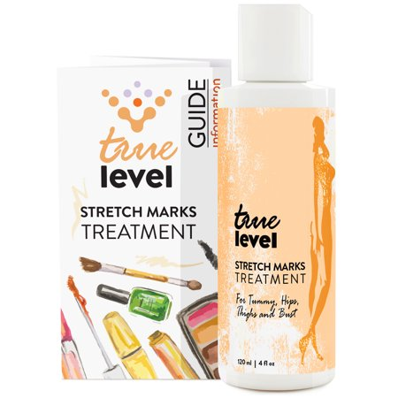 True Level Stretch Mark Treatment Cream for Tummy Hips Thighs and Bust Body Lotion with Natural Ingredients Vitamin C Hyaluronic Acid Best for Pregnancy (4 oz / 120