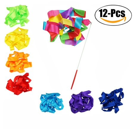 12PCS Dance Ribbons Colorful Gymnastic Ribbon Wands Dance Streamers for Kids Artistic Dancing - Dance Ribbon
