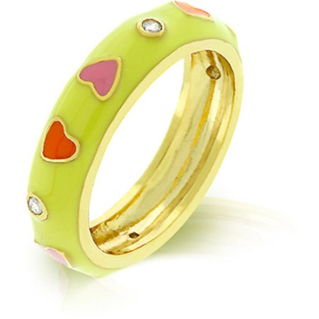- Kate Bissett R07917G-V02-10 18k Gold Plated with Yellow Enamel Overlay with Red and Pink Enamel Hearts Accented by Bezel Set Clear CZ in Goldtone