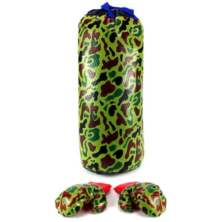 Vt Army Camo Boxing Childrens Kids Pretend Play Toy Boxing Play Set W  Stuffed Punching Bag  Pair Of Soft Padded Boxing Gloves  Perfect For All Kids
