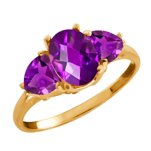 1.80 Ct Checkerboard Purple Amethyst Gold Plated Sterling Silver Ring