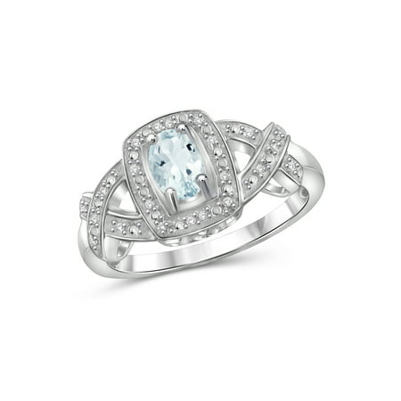 0.44 Carat T.G.W. Aquamarine Gemstone and 1/20 Carat T.W. White Diamond Women