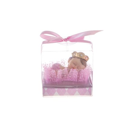 Mega Favors Keepsake Figurine 12 pcs Baby Girl Wearing Crown Napping | Awesome Decorations or Party Favors | for Pregnancy Announcements, Gender Reveals, Birthday and Special Celebrations