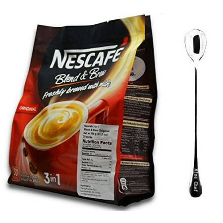 Nescaf? 3 in 1 Instant Coffee Sticks Original- Best Asian Coffee Imported from Nestle Malaysia  (Original 3 Bags) + One NineChef (Best Japanese Instant Coffee)
