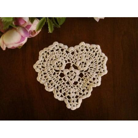Handmade Crochet Lace Heart Shape Coasters Doilies, 4-inch, Beige Color, Set of