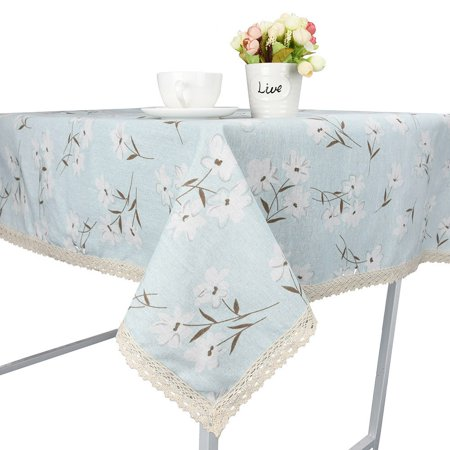 Lace Washable - Flower Dining Tablecloth Cotton Linen Rustic Rectangle Washable Table Cover Lace