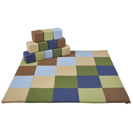 SoftZone® Patchwork Toddler Mat and 12-Piece Block Set - (Ash Tone Block)